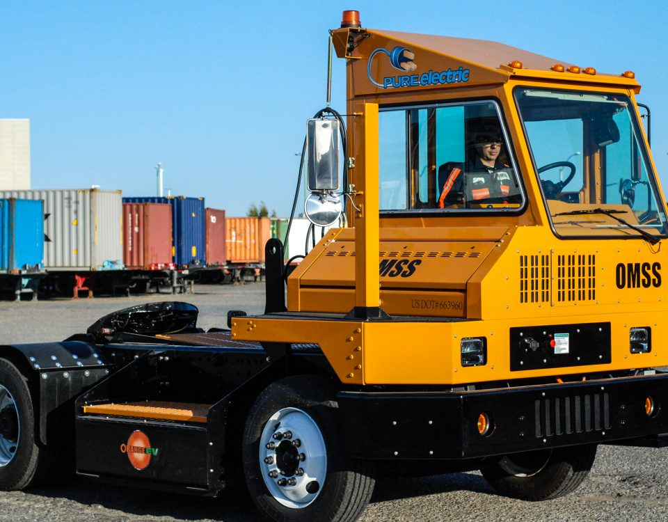 OMSS Orange EV Pure Electric Terminal Truck at Port of Oakland