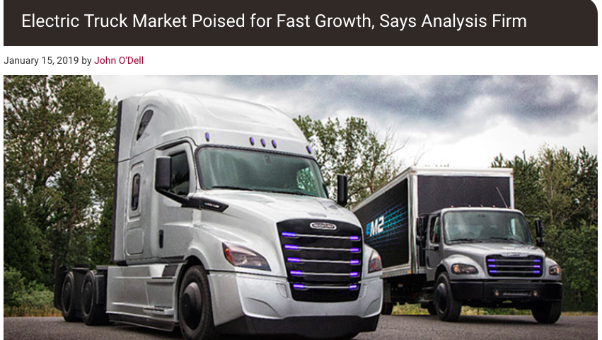 """From Trucks.com article """"Electric Truck Market Poised for Fast Growth, Says Analysis Firm"""""""