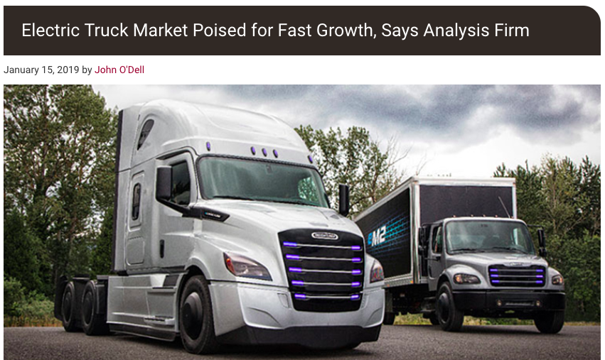 "From Trucks.com article ""Electric Truck Market Poised for Fast Growth, Says Analysis Firm"""